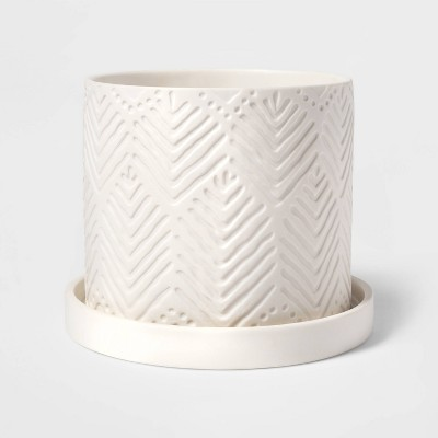 "6"" Small Novelty Chevron Textured Planter White - Threshold™"