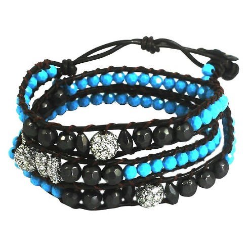 Women's Zirconite Colored Stones Fireballs Cord Wrap Bracelet - image 1 of 1