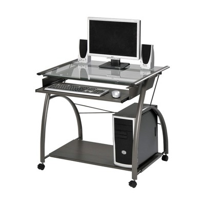 ACME Furniture Vincent Contemporary Heavy Duty Metal Home Work Office Computer Desk with Pull Out Keyboard Tray and Glass Top, Pewter
