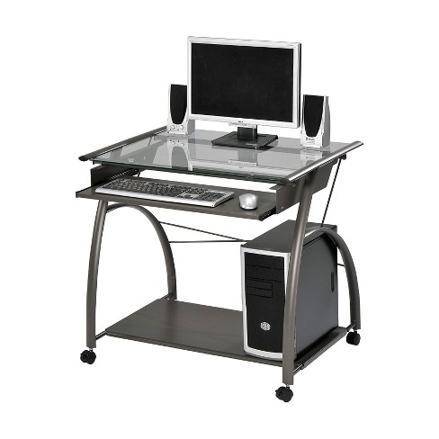 ACME Furniture Vincent Contemporary Heavy Duty Metal Home Work Office Computer Desk with Pull Out Keyboard Tray and Glass Top, Pewter - image 1 of 2
