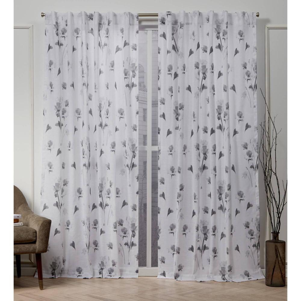 "Image of ""50""""x108"""" La Petite Fleur Back Tab Light Filtering Window Curtain Panels Gray - Nicole Miller"""
