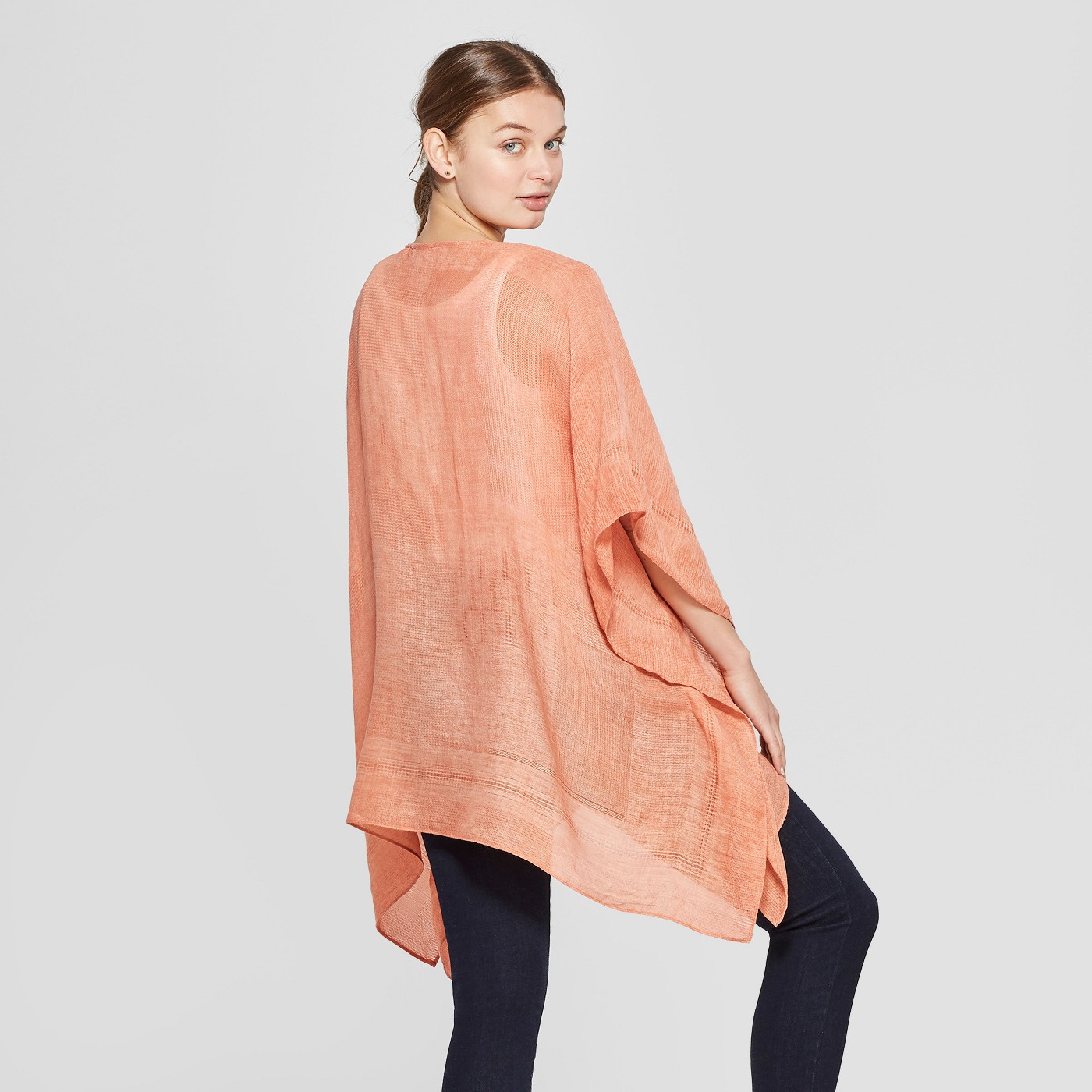 Women's Woven Kimono Jacket Ruana - Universal Thread™ Orange - image 2 of 2