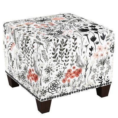 Square Nail Button Ottoman Patterned - Skyline Furniture