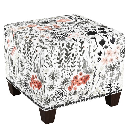 Phenomenal Square Nail Button Ottoman Winter Botanical Red Skyline Furniture Pabps2019 Chair Design Images Pabps2019Com