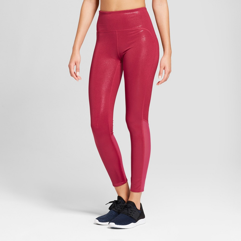 Women's 7/8 Shine High-Waisted Leggings - JoyLab Sangria Red XS