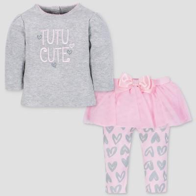 Gerber Baby Girls' 2pc Long Sleeve Top and Tutu Leggings - Gray/Pink 3-6M