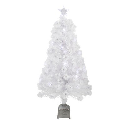 Northlight 4' Pre-Lit Artificial Christmas Tree Slim Color Changing Fiber Optic - Multicolor LED Lights