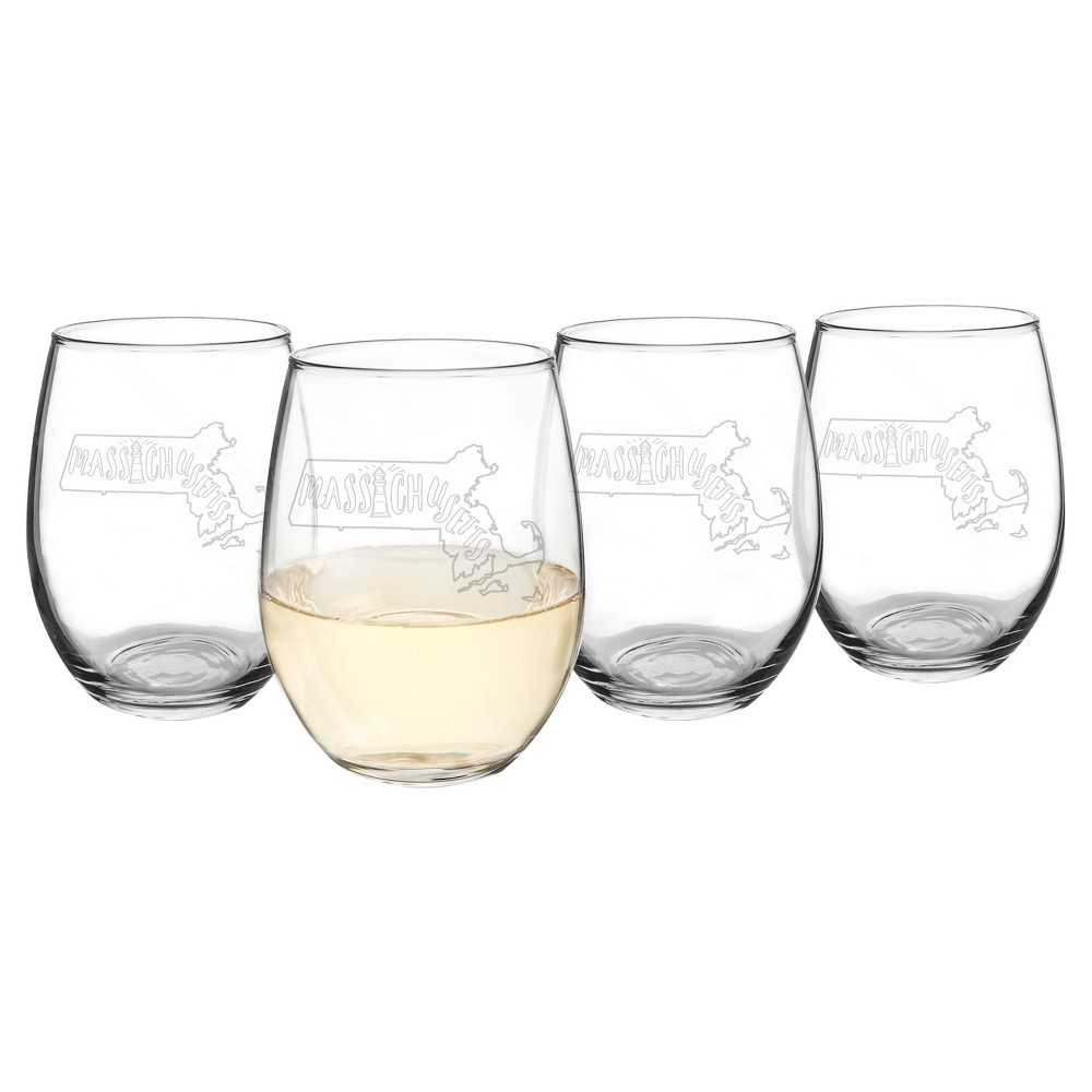 Cathy's Concepts My State Stemless Wine Glasses 21oz - Set of 4 - Massachusetts, Clear