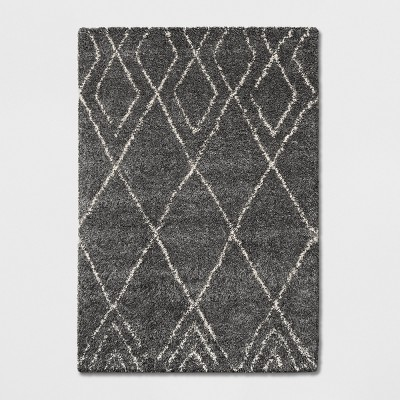 7'X10' Diamond Patterned Shag Woven Area Rug Gray - Project 62™