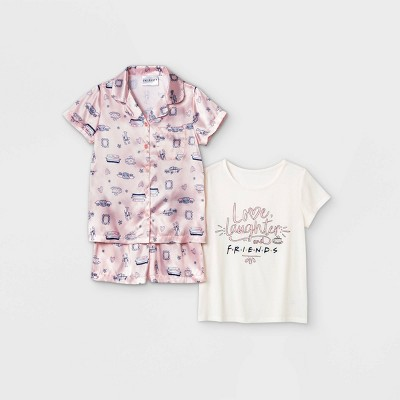 Girls' Friends 3pc Pajama Set - Pink/Off-White