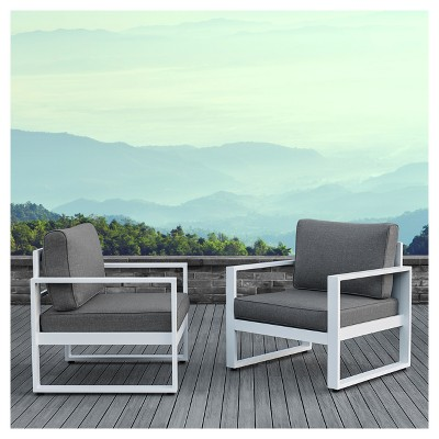 Baltic 2pc Metal Patio Chair Set - White - Real Flame