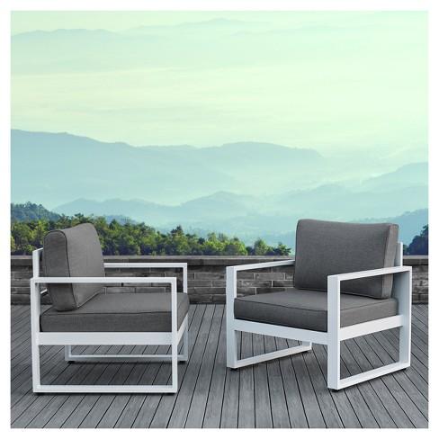 Baltic 2pc Metal Patio Chair Set, White Patio Furniture