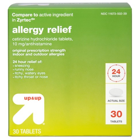 Cetirizine Hydrochloride Allergy Relief Tablets - Up&Up™ (Compare to active ingredient in Zyrtec) - image 1 of 5