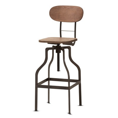 Varek Wood and Rust Finished Steel Adjustable Swivel Barstool Brown - BaxtonStudio