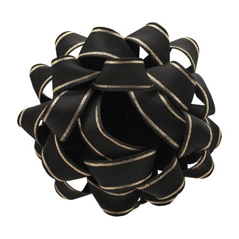 Black Grosgrain with Gold Stripe Premium Bow - Wondershop™ - image 1 of 1