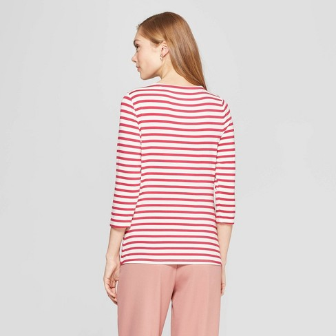 bf96408d630029 Women's Striped 3/4 Sleeve Clean Boat Neck T-Shirt - A New Day™ Pink ...
