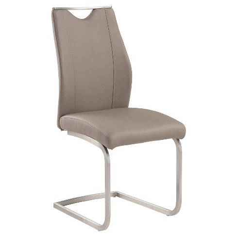 Bravo Contemporary Side Dining Chair - Coffee And Stainless Steel (Set of 2) - Armen Living - image 1 of 2