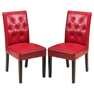 Set of 2 Gentry Bonded Leather Dining Chair Red - Christopher Knight Home