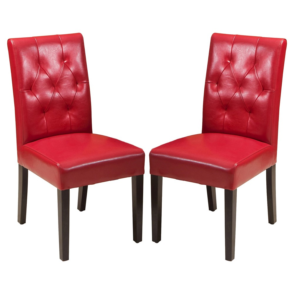 Set Of 2 Gentry Bonded Leather Dining Chair Red Christopher Knight Home