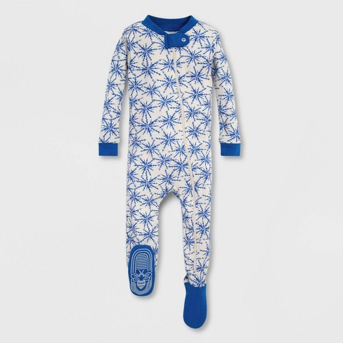 Burt's Bees Baby® Icy Snowflake Organic Cotton Footed Pajama - Blue/White - image 1 of 1
