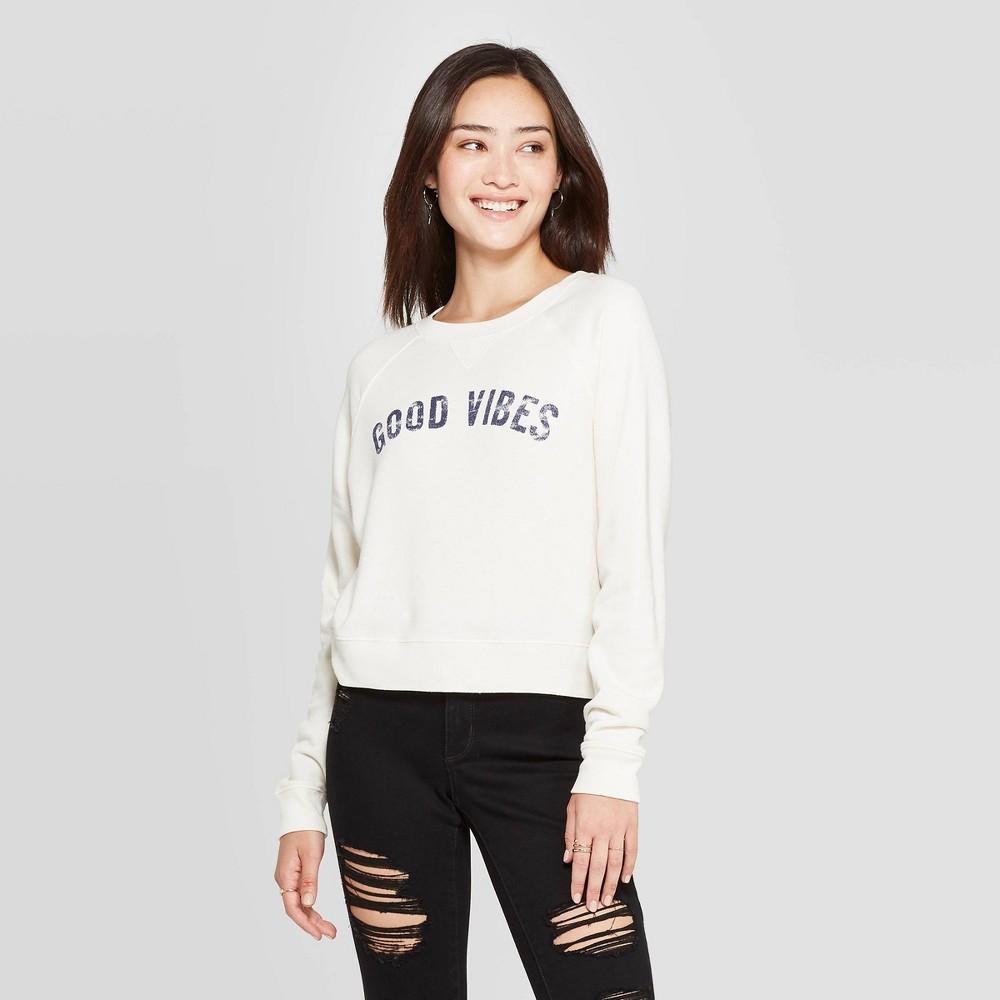 Image of Women's Good Vibes Long Sleeve Graphic Sweatshirt - Grayson Threads (Juniors') - Light Beige L, Women's, Size: Large