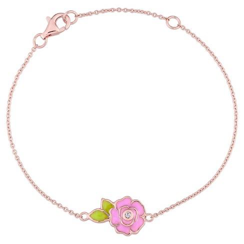 """Children's Enamel Flower Bracelet with White Topaz Sterling Silver - (7"""") - image 1 of 1"""
