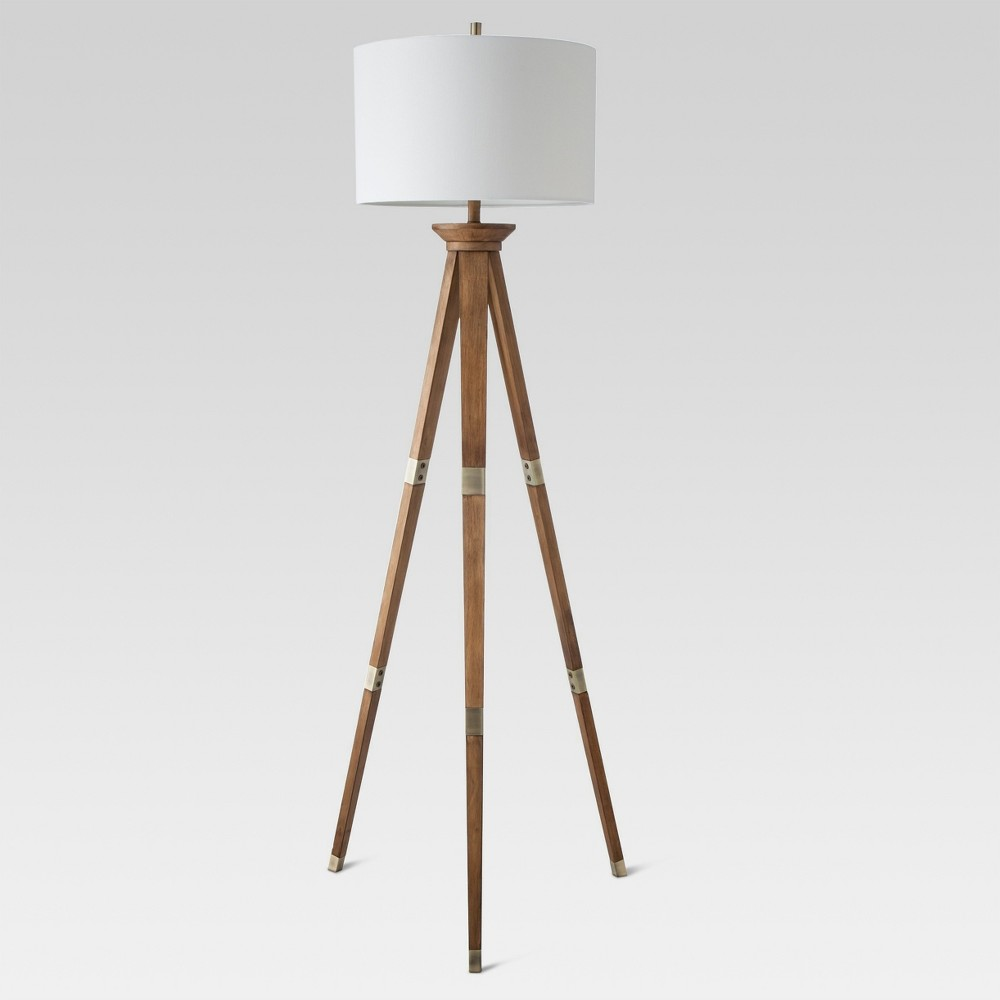 Oak Wood Tripod Floor Lamp Brass (Lamp Only) - Threshold, Brown