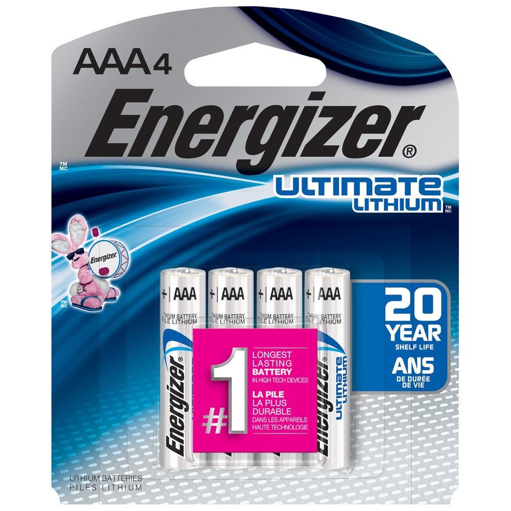 Energizer Ultimate Lithium Aaa Batteries 4ct (L91BP-4) Energizer Aaa Ultimate Lithium Batteries bring you the power, performance and reliablity you need.These are the World's highes Energy Aaa Batteries and the longest-lasting battery for high-tech devices