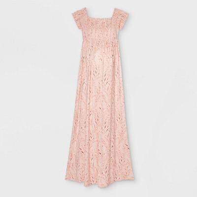 Floral Print Short Sleeve Smocked A-Line Maternity Dress - Isabel Maternity by Ingrid & Isabel™ Light Pink