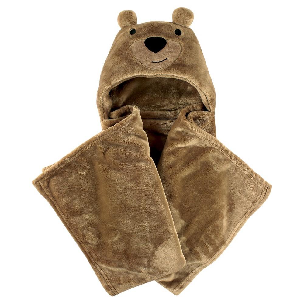 Hudson Baby Coral Fleece Hooded Blanket - Brown Bear, Light Brown