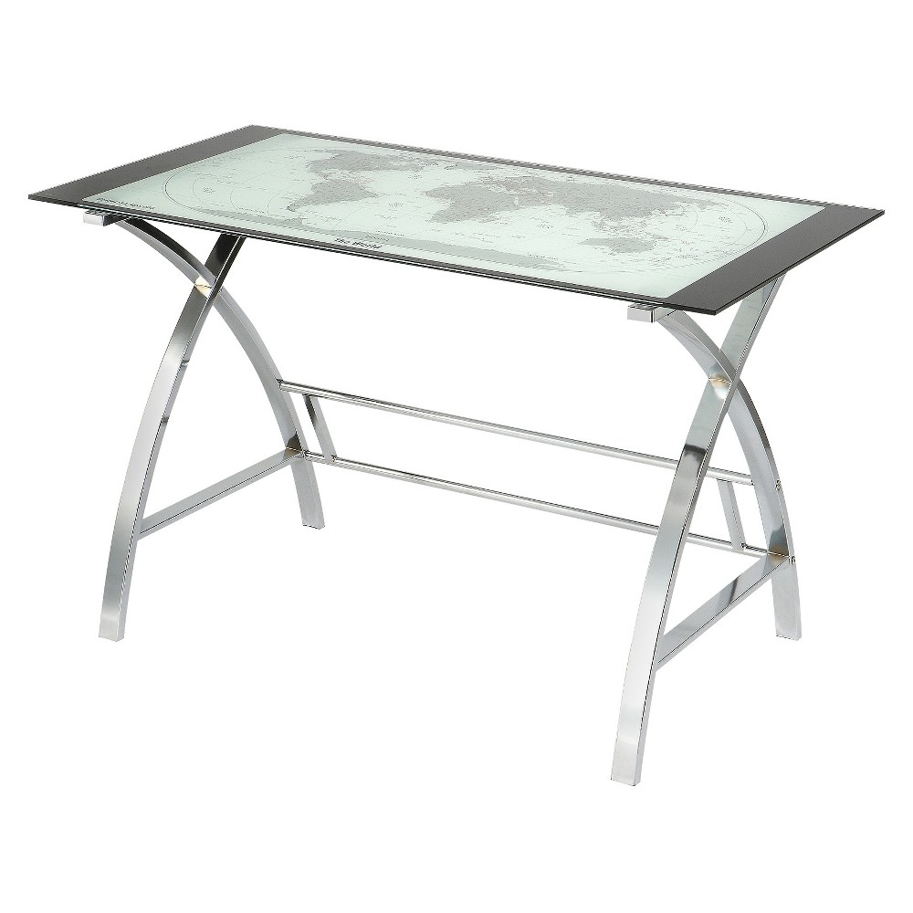 Christopher World Map Metal (Grey) Computer Desk Silver - Powell Company