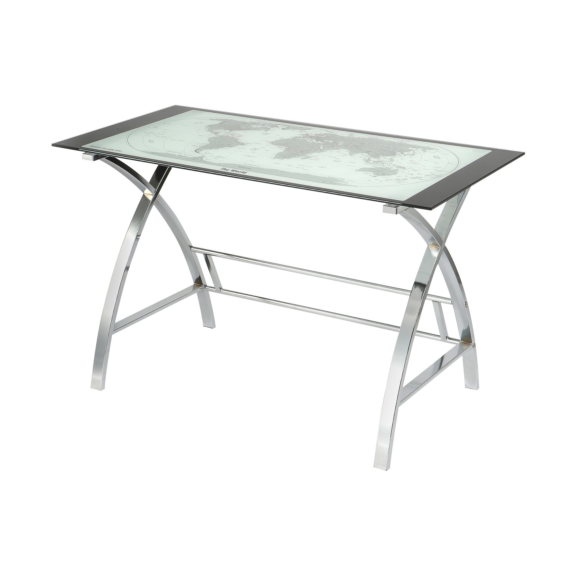 Christopher World Map Metal Computer Desk Silver - Powell Company, Gray
