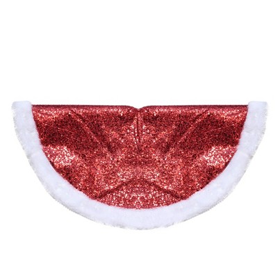 "Northlight 20"" Red Glittered Mini Christmas Tree Skirt With a Faux Fur Trim"
