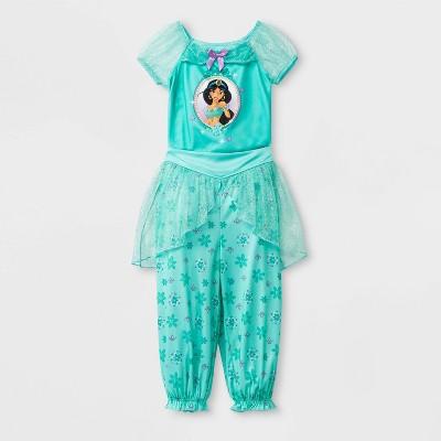 Toddler Girls' Disney Princess Fantasy Jasmine 2pc Pajama Set - Aqua