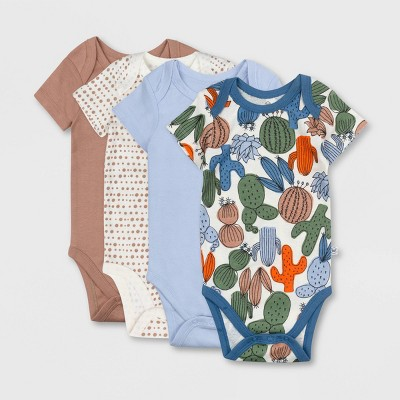 Honest Baby Boys' 4pk Organic Cotton Cactus Print Short Sleeve Bodysuit - Blue 0-3M