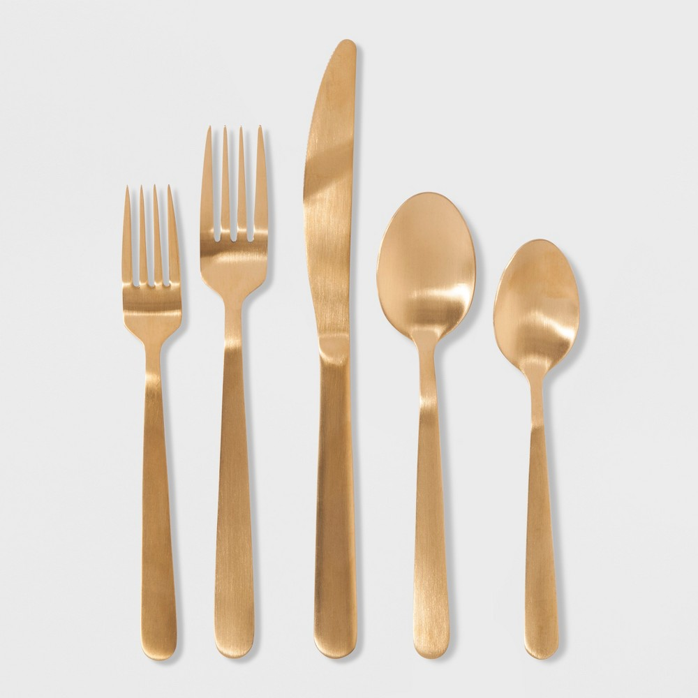 Image of 20pc Stainless Steel Silverware Set - Threshold, Gold