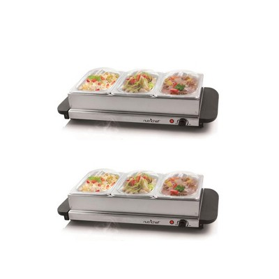 NutriChef Portable 3 Pot Electric Hot Plate Buffet Warmer Chafing Serving Dish with Clear Lids for Restaurants, Hotels, and Parties (2 Pack)