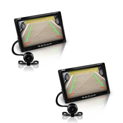 Pyle PLCM7700 7 Inch LCD Display Waterproof Rearview Car Backup Camera and Monitor Parking Reverse Assist System with Night Vision, Black (2 Pack)