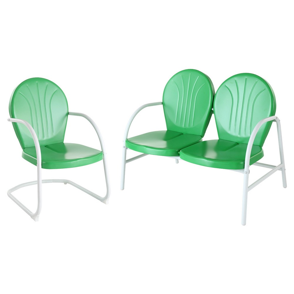 Crosley Griffith 2 Piece Metal Outdoor Conversation Seating Set - Grasshopper Green