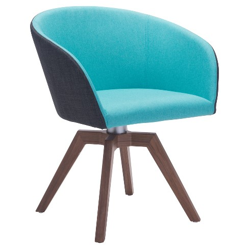 Mid-Century Modern Upholstered and Wood Dining Chair (Set of 2) - Aqua - ZM Home - image 1 of 8