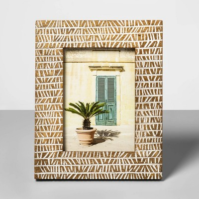 5  x 7  Wooden Carved Gambia Pattern Photo Frame Buff Beige - Opalhouse™