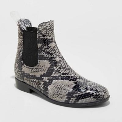 Women's Chelsea Snake print Rain Boots - A New Day™ Gray 9