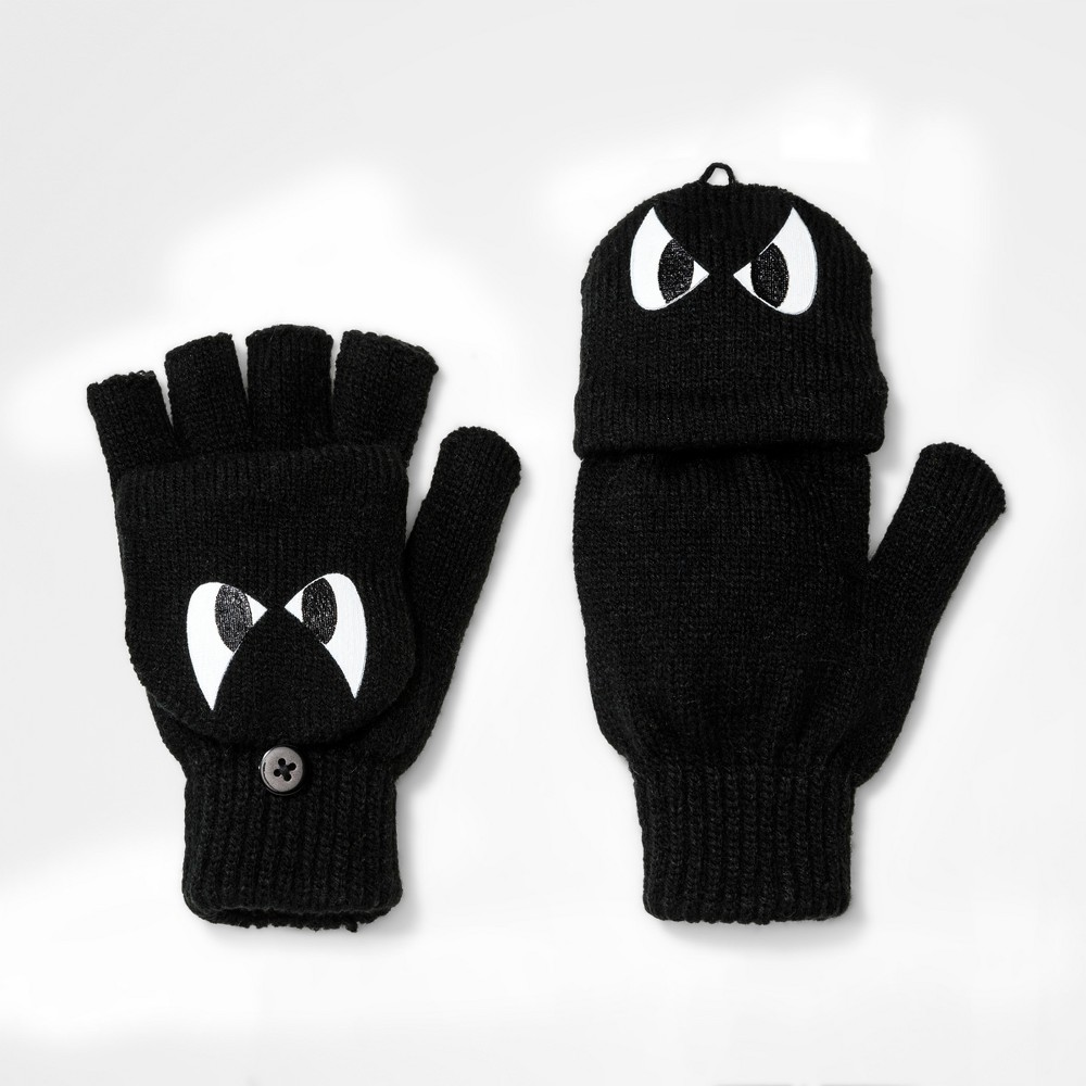 Boys' Monster Eyes Gloves - Cat & Jack Black One Size