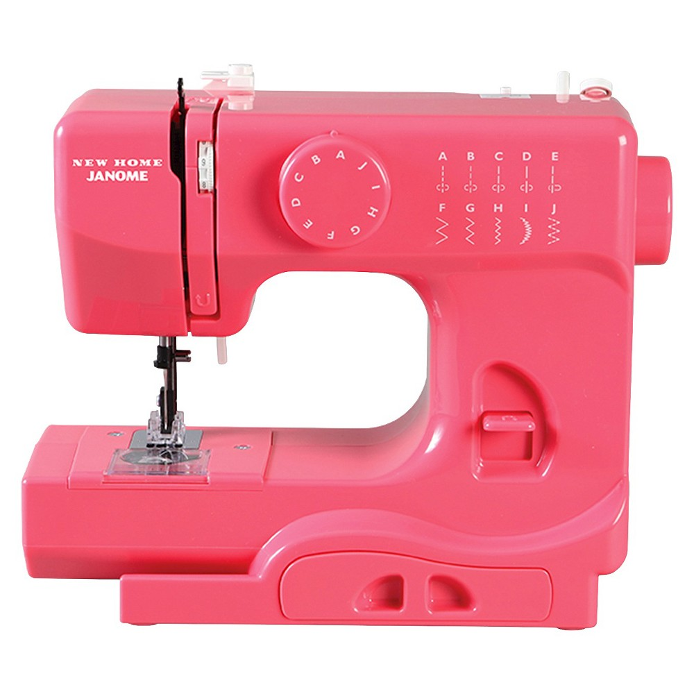 Janome Compact Sewing Machine - Pink The Compact Sewing Machine from Janome is a great choice for both the experienced sewer and the young enthusiast. This pink sewing machine includes essential features for tackling many types of sewing projects — from simple tasks and mending to scrapbooking and paper crafting. At just five pounds, it's perfectly portable and a great choice for apartment and dorm living, taking to classes, or sewing with friends.