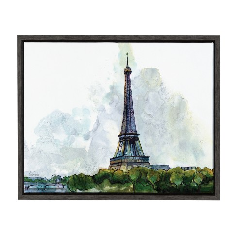 "Kate & Laurel 24""x18"" Sylvie Eiffel Tower Paris France Watercolor Splash By Jennifer Redstreake Geary Framed Wall Canvas Dark Gray - image 1 of 5"