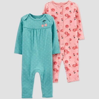 Baby Girls' 2pk Floral Jumpsuit - Just One You® made by carter's Green Newborn