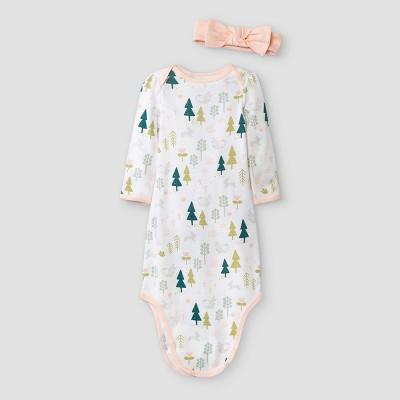 Baby Girls' Earth & Sky Nightgown with Headwrap - Cloud Island™ Light Pink Newborn