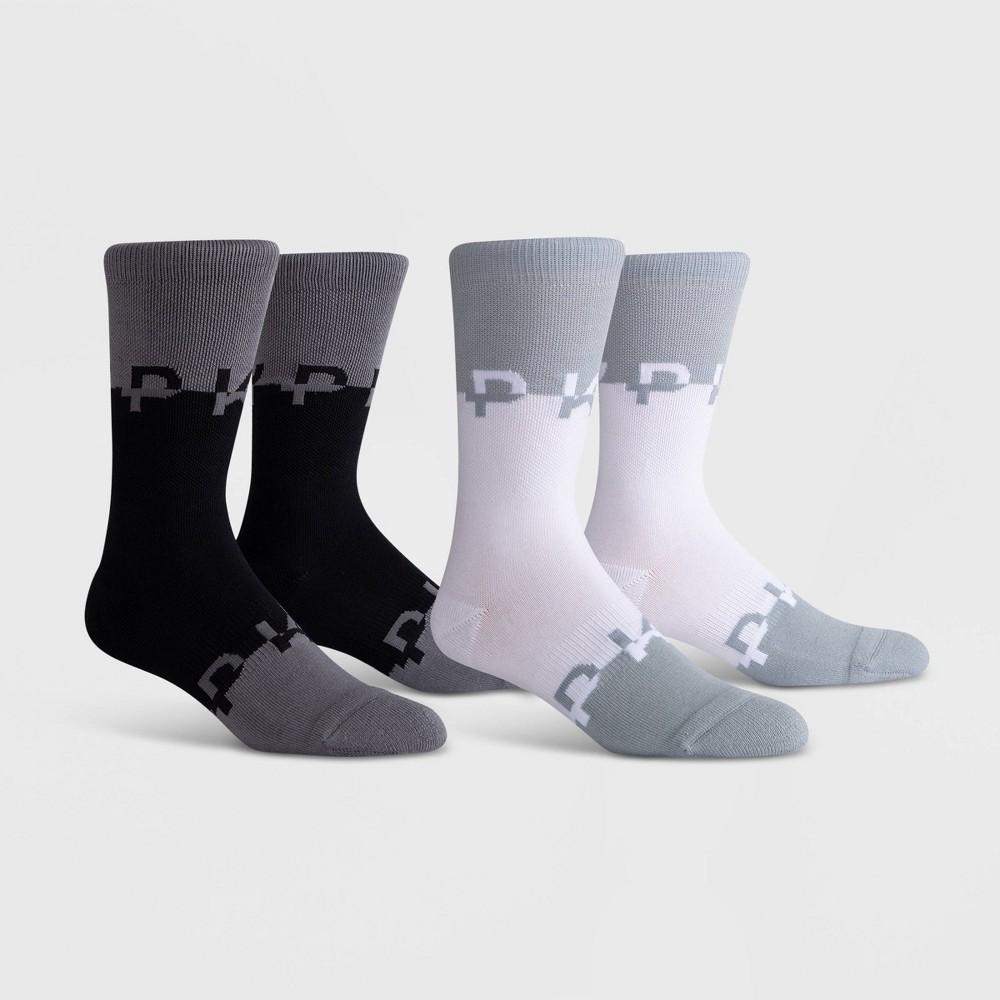Image of PKWY Men's Clipped 2pk Crew Socks - Black/White L, Men's, Size: Small, White Black