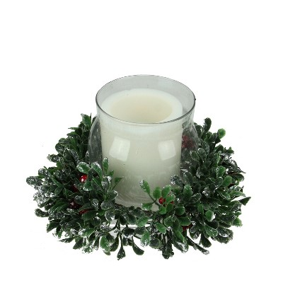 "Northlight 11"" Boxwood and Berry Tipped Christmas Hurricane Pillar Candle Holder - Green/Silver"