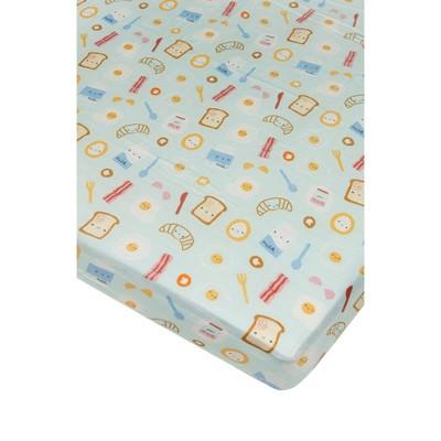 Loulou Lollipop Muslin Fitted Crib Sheet - Breakfast Blue